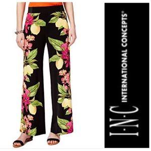 INC International Concepts Floral Lemons Wide Pant